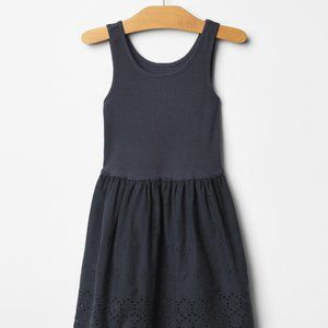Gap French Navy Eyelet Lace Trim Tank Dress